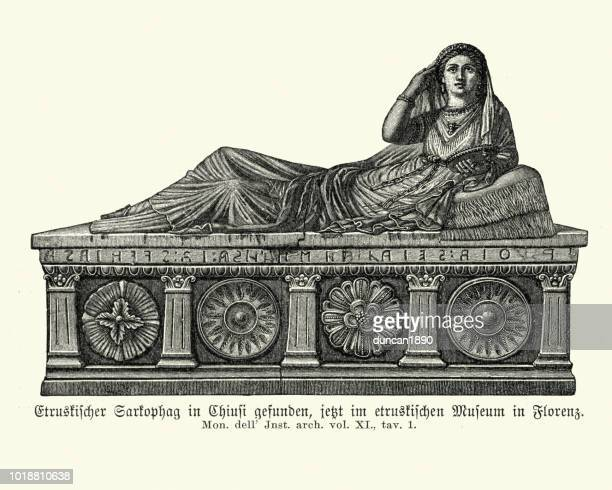 ancient etruscan sarcophagus found in chiusi - etruscan stock illustrations