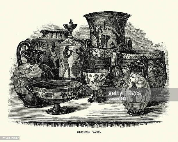 ancient etruscan vases - pottery stock illustrations, clip art, cartoons, & icons