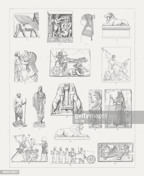 ancient european and middle east sculptures, wood engravings, published 1897 - mycenae stock illustrations