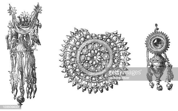 ancient gold jewelry (various centuries) - filigree stock illustrations