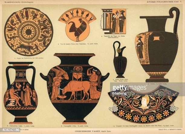 ancient grecian vases - classical greek style stock illustrations