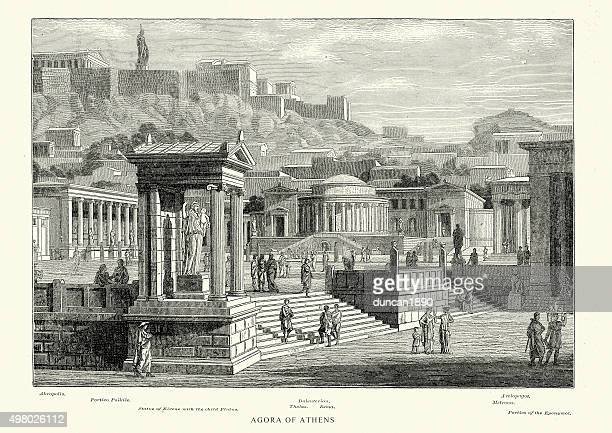 stockillustraties, clipart, cartoons en iconen met ancient greece - agora of athens - classical greek style