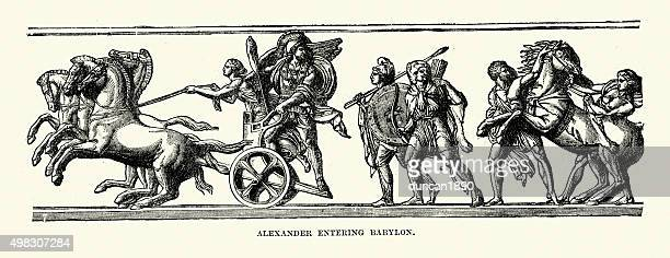 ancient greece - alexander the great entering babylon - alexander the great stock illustrations