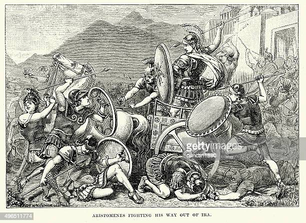 ancient greece - aristomenes fighting his wau out of ira - sparta greece stock illustrations, clip art, cartoons, & icons