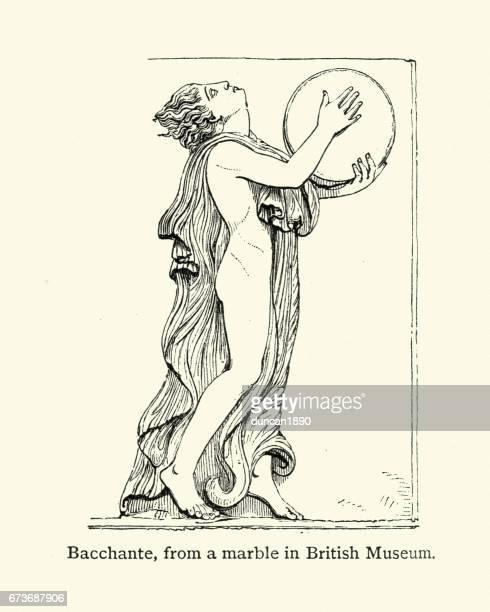 ancient greece - bacchante or maenad - goddess stock illustrations, clip art, cartoons, & icons