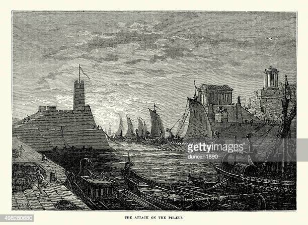 ancient greece - battle of piraeus - piraeus stock illustrations