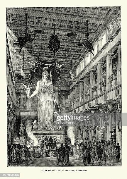 ilustrações, clipart, desenhos animados e ícones de grécia antiga-interior do partenon, em atenas - partenão acrópole