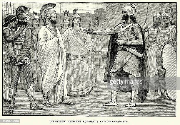 ancient greece - interview between agesilaus and pharnabazus - diplomacy stock illustrations
