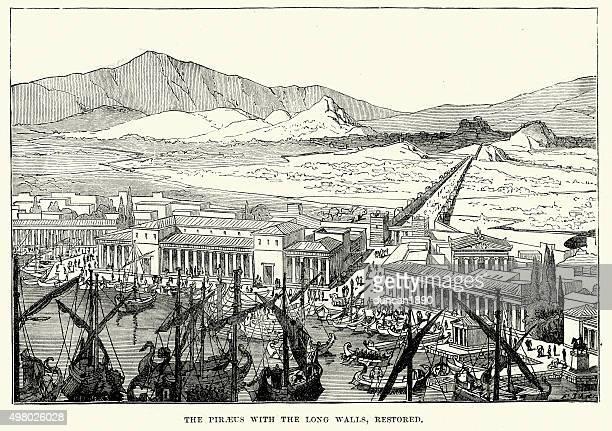 ancient greece - piraeus with the long walls - piraeus stock illustrations
