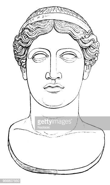 bildbanksillustrationer, clip art samt tecknat material och ikoner med antikens grekland - porträtt av hera - grekisk gudinna