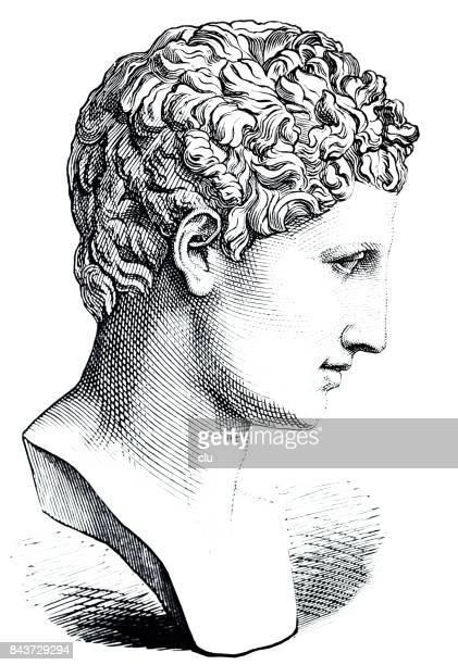 ancient greece - portrait of hermes - greek statue stock illustrations