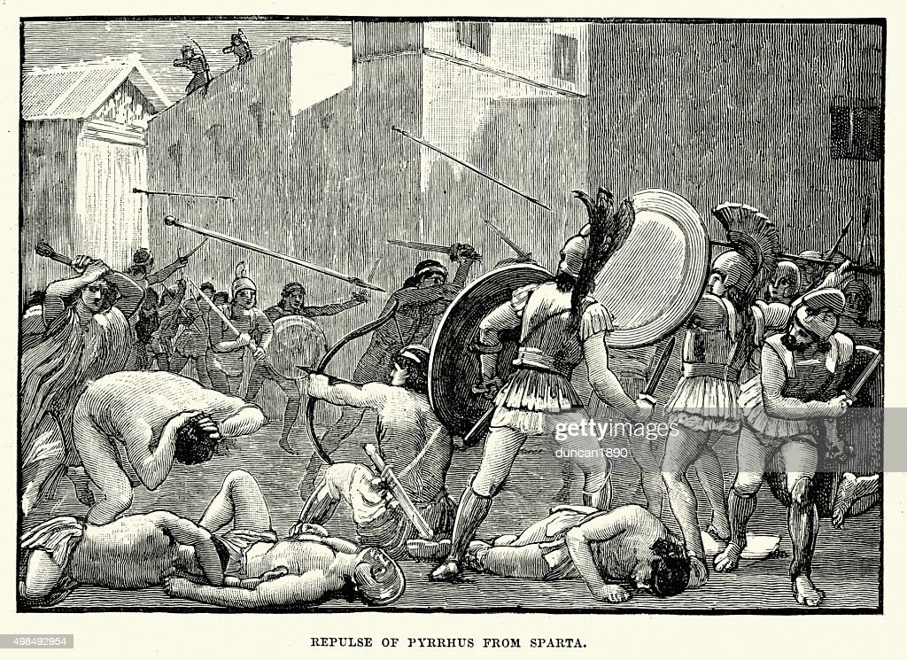 Ancient Greece - Pyrrhus of Epirus replused from Sparta : stock illustration
