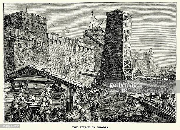 ancient greece - siege of rhodes (305 bc) - siege stock illustrations