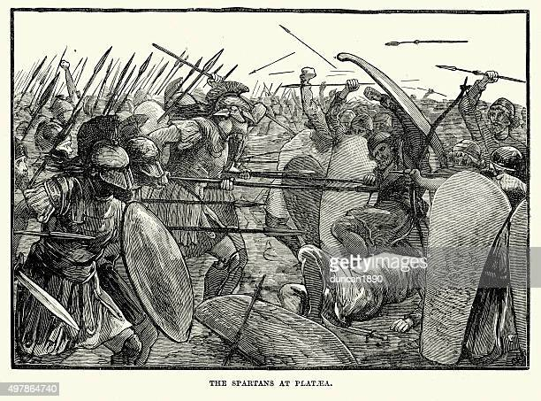 ancient greece - spartans at the battle of plataea - battlefield stock illustrations, clip art, cartoons, & icons