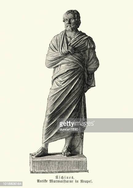 ancient greece, statue of aeschines - greek statue stock illustrations