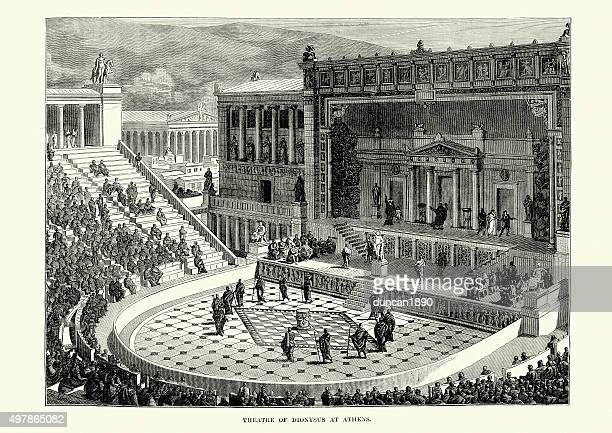 ancient greece - theatre of dionysus, athens - classical theater stock illustrations, clip art, cartoons, & icons