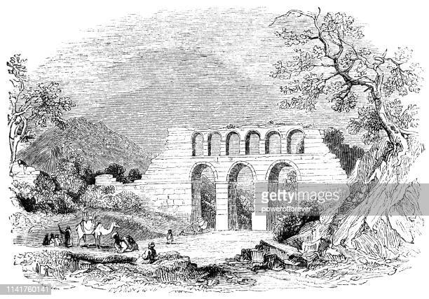 ancient greek aqueduct ruins at ephesus, turkey - 19th century - aqueduct stock illustrations, clip art, cartoons, & icons