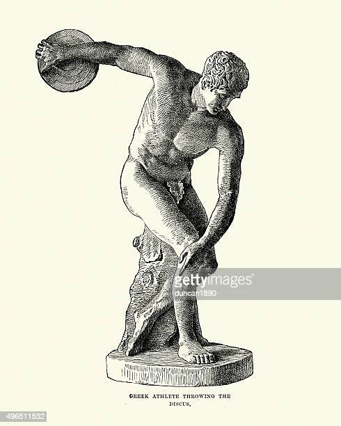 ancient greek athlete throwing the discus - the olympic games stock illustrations