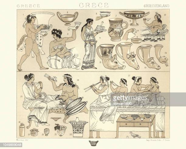ancient greek banguet, dining furniture and utensils - ancient greece stock illustrations, clip art, cartoons, & icons