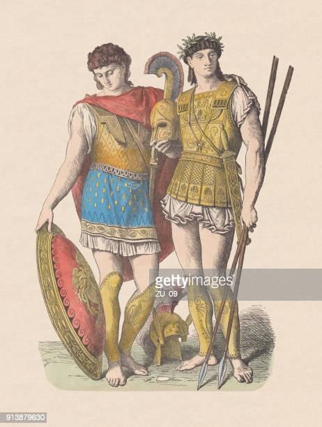 ancient greek fashion: military leaders, hand-colored wood engraving, published c.1880 - ancient greece stock illustrations