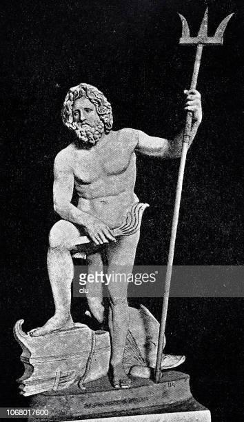 古代ギリシャの神ポセイドン、ローマの大理石の像 - ポセイドン点のイラスト素材/クリップアート素材/マンガ素材/アイコン素材