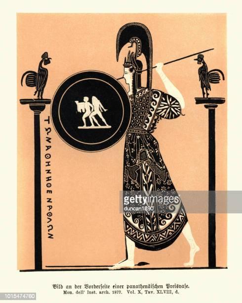 bildbanksillustrationer, clip art samt tecknat material och ikoner med antika grekiska gudinnan athena - grekisk gudinna