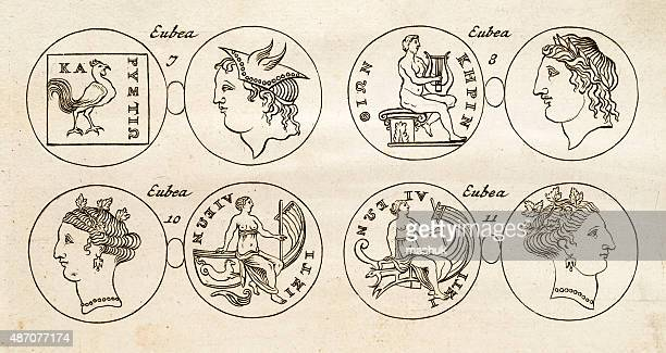 ancient greek medals, 17 century illustration - greek islands stock illustrations, clip art, cartoons, & icons