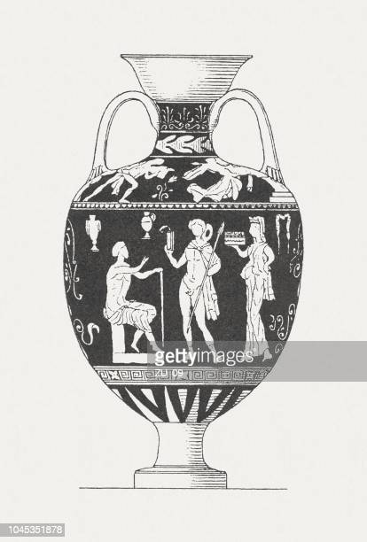 ancient greek messenger, vase painting, wood engraving, published in 1885 - greek culture stock illustrations, clip art, cartoons, & icons