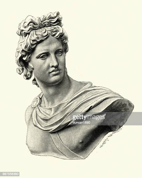 ancient greek mythology, apollo god of music, truth and prophecy - greek mythology stock illustrations