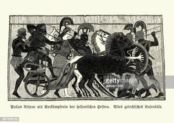ancient greek mythology, athena goddess of wisdom and warfare - classical greek style stock illustrations