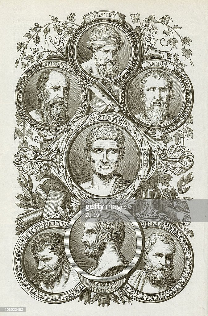 Ancient Greek philosophers, wood engraving, published in 1882 : stock illustration