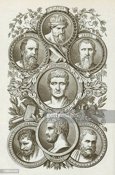 ancient greek philosophers, wood engraving, published in 1882 - aristotle stock illustrations