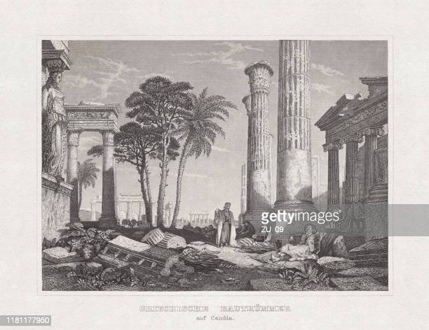 ancient greek ruins in candia (knossos, crete), steel engraving, 1860 - ancient greece stock illustrations