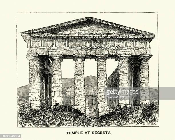 ilustrações, clipart, desenhos animados e ícones de grego antigo templo de segesta, sicília, itália - pediment