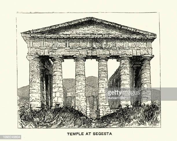 ancient greek temple of segesta, sicily, italy - pediment stock illustrations, clip art, cartoons, & icons