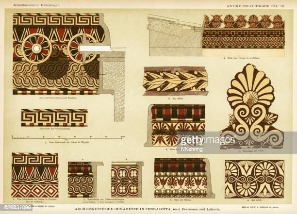 ancient greek terracotta architectural ornamentation - archaeology stock illustrations