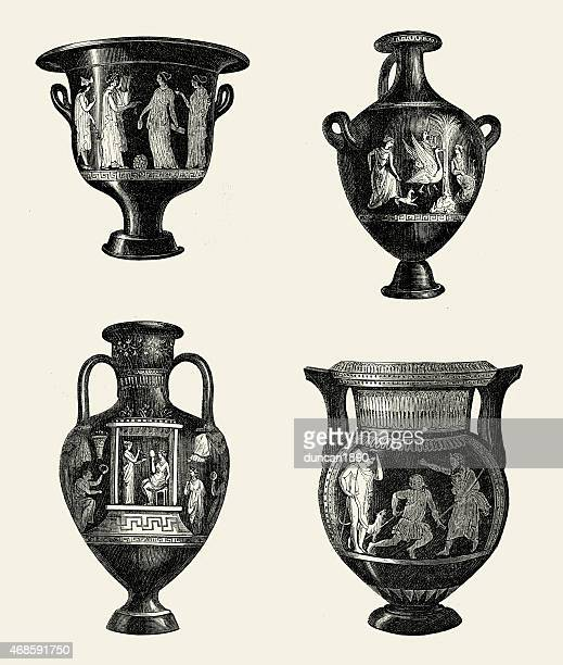 ancient greek urns and vases - greek culture stock illustrations, clip art, cartoons, & icons