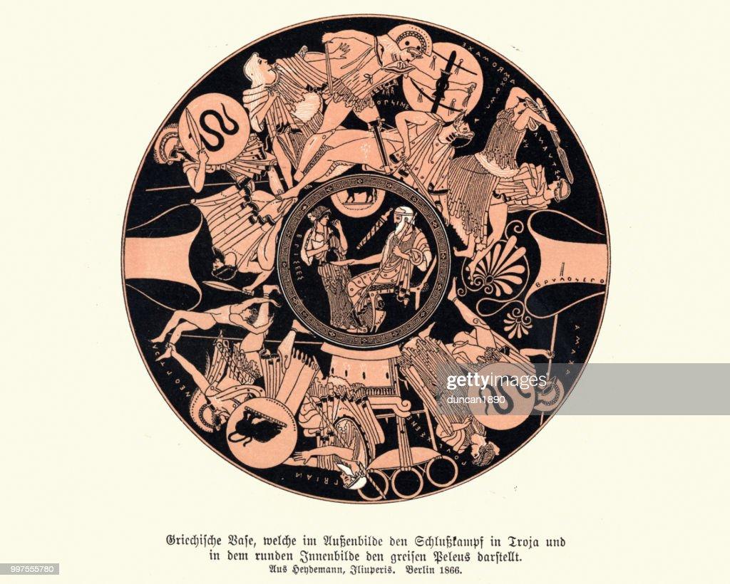 Ancient Greek vase design, Warriors and heros of mythology : Stock Illustration