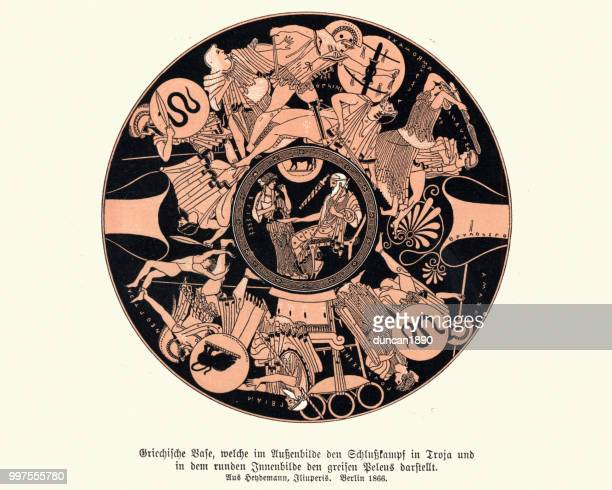 ancient greek vase design, warriors and heros of mythology - classical greek style stock illustrations