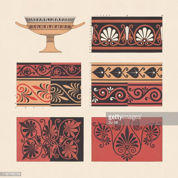 ancient greek vase paintings, chromolithograph, published in 1881 - embellishment stock illustrations