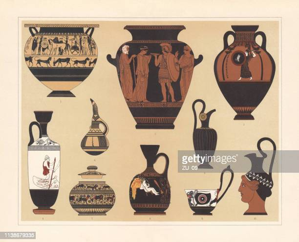 ancient greek vases, chromolithograph, published in 1897 - classical greek style stock illustrations