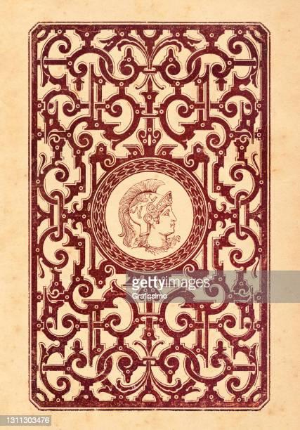 ancient greek warrior in decoration frame - literature stock illustrations