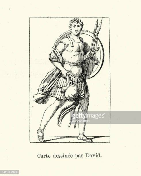 ancient greek warrior with shield and spear - ancient greece stock illustrations, clip art, cartoons, & icons