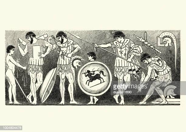 ancient greek warriors - sparta greece stock illustrations, clip art, cartoons, & icons