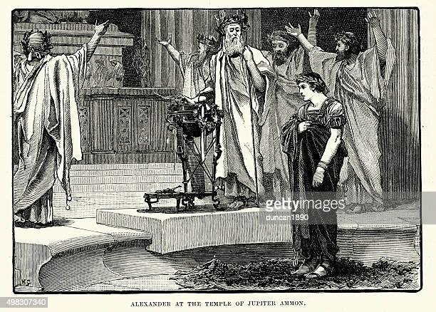 illustrazioni stock, clip art, cartoni animati e icone di tendenza di storia antica-alexander al tempio di giove ammon - prete