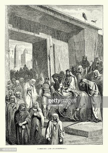 ancient history - cambyses and psammetichus - herodotus stock illustrations