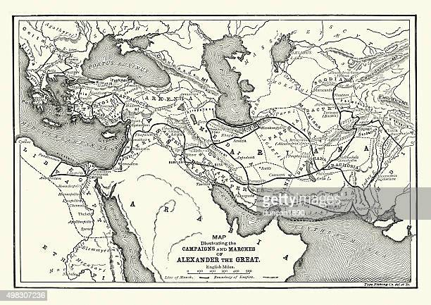 ancient history - map of alexander the great campaigns - alexander the great stock illustrations