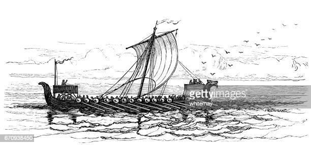Ancient Icelandic vessel at sea