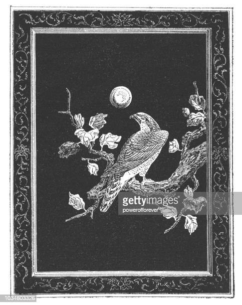 ancient japanese black lacquer panel of a falcon - falcon bird stock illustrations, clip art, cartoons, & icons