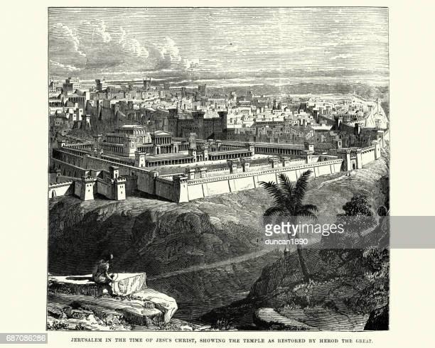 ilustrações de stock, clip art, desenhos animados e ícones de ancient jerusalem, showing the temple restored - jerusalem antiga